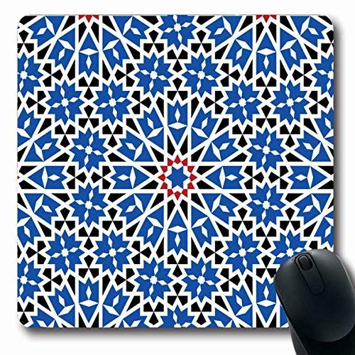 Mousepad Oblong Buntes marokkanisches Marokko Muster Traditionelle arabische geometrische Zusammenfassung Alhambra Fliese Stern Antike alte rutschfeste Gummimaus Pad Büro Computer Laptop Spielmatte