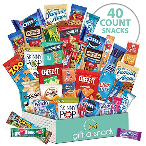 Variety Snack Care Package (40 Count) Gift Box for Kids - Cookies, Chips, Candies, Bars, Crackers - College Student, Birthday, Easter Candy Basket, for Men, Women, Boys, Girls, Adults - Prime Delivery