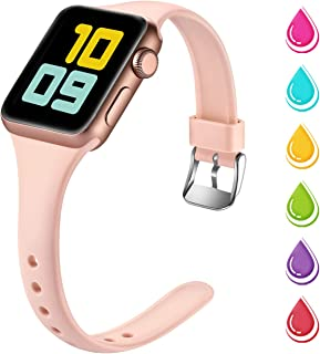 Nofeda Slim Band Compatible with Apple Watch 40mm 38mm, Narrow Thin Soft Silicone Sport Bands Replacement Strap for iWatch Series 5 4 3 2 1 Women Men, S/M, Pink Sand