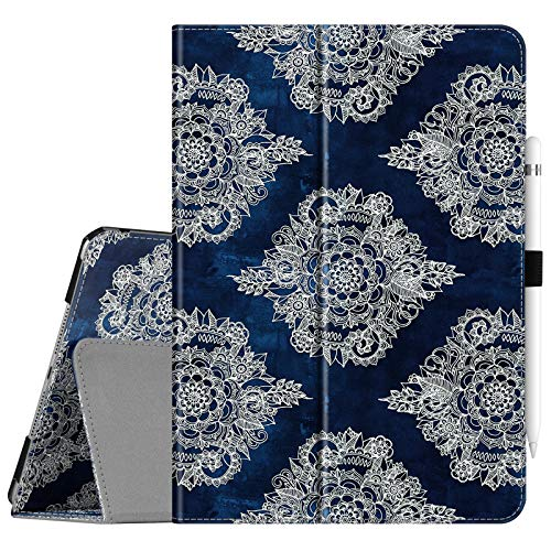 Fintie Folio Case for New iPad 8th Gen (2020) / 7th Generation (2019) 10.2 Inch - [Corner Protection] Premium Vegan Leather Smart Stand Back Cover with Pencil Holder, Auto Sleep/Wake, Indigo Dreams