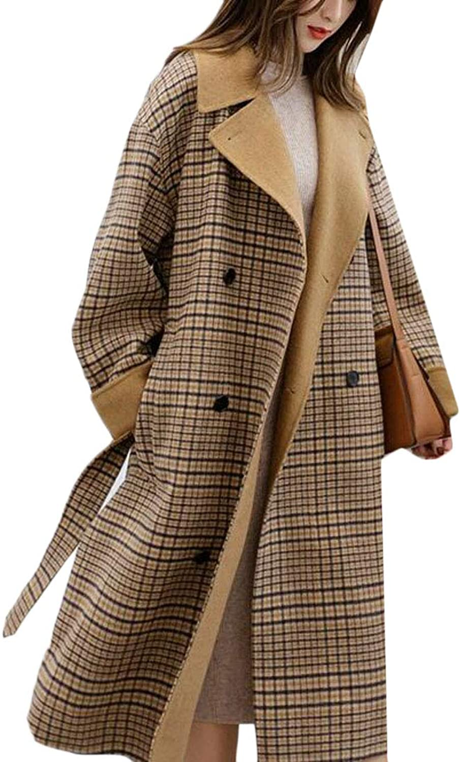XiaoTianXinWomen XTX Women's Winter Wool Blend Loose Plus Size Plaid Long Trench Pea Coat Jacket Overcoat