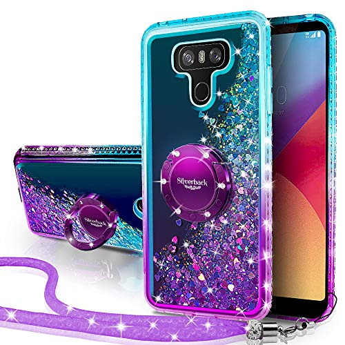 LG G6 Case, LG G6 Plus Case, Silverback Moving Liquid Holographic Sparkle Glitter Case with Kickstand, Bling Bumper with Ring Stand Slim Protective LG G6 Plus Case for Girls Women -Purple