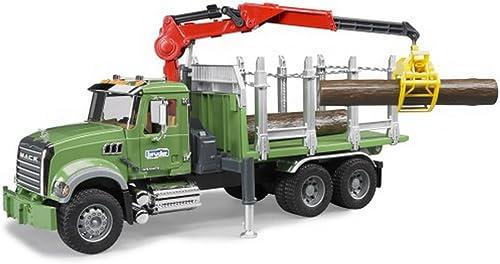 Bruder MACK Holztransport LKW mit Ladekran, 1 Stück