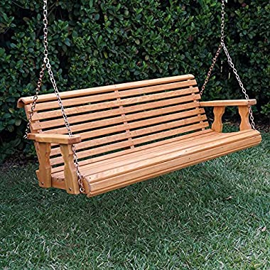 Amish Heavy Duty 800 Lb Roll Back Treated Porch Swing With Hanging Chains (4 Foot, Cedar Stain)