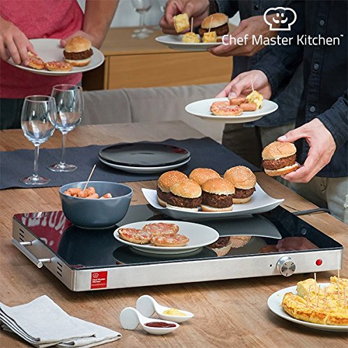 Chef Master Kitchen Bandeja Calientaplatos, Acero Inoxidable, Gris, 61 x 41 x 6 cm