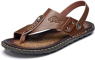GBZLFH Sandales pour Hommes, Sandales Et Pantoufles D'été en Cuir, Chaussures De Plage Antidérapantes À Semelle Souple Aju...