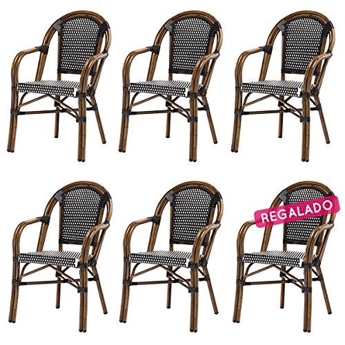DÉSTOCKAGE: -35% Lot de 6 fauteuils LUCA en polyrotin