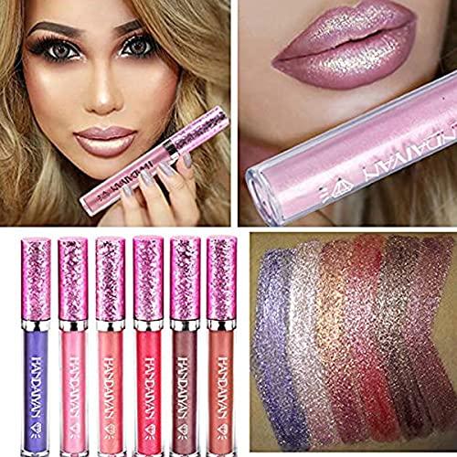 6 brillos de labios con purpurina, brillantes, en color nude, resistentes al agua