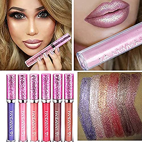 6 Stück/Set Make-up Diamond Shiny Metallic Lippenstift Charming Long Lasting Shimmer Flüssiger Lippenstift Glitter Powder Lipgloss Metallic Lip Color Cosmetics