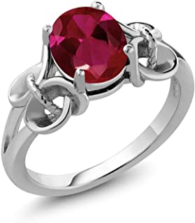 Gem Stone King 925 Sterling Silver Red Created Ruby Women`s Ring (2.39 Cttw, 9X7MM Oval, Available 5,6,7,8,9)