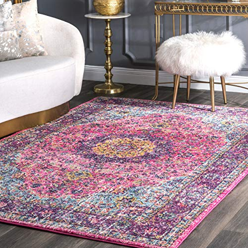nuLOOM Paisley Verona Vintage Persian Area Rug, 4' x 6', Pink