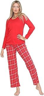 Ladies Ex M&S Check Pyjama Set Womens Cotton Pjs Nightwear Night Suit Long Sleeve Red Plus Size