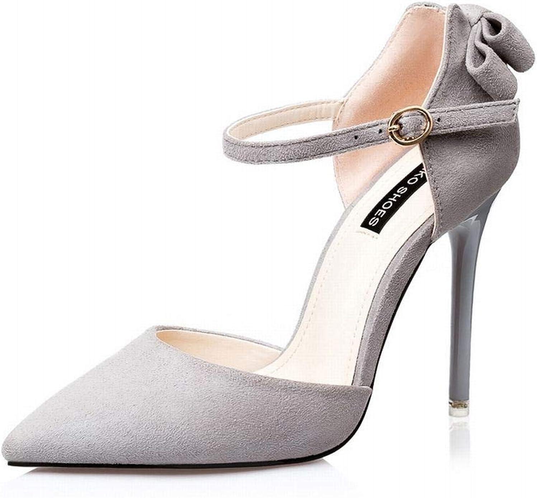 YUKILO Woherrar Fine Fine Fine with point High klackar mocka Bow Sweet Beauty Single skor (färg  grå, Storlek  34)  Toppvarumärken säljer billigt