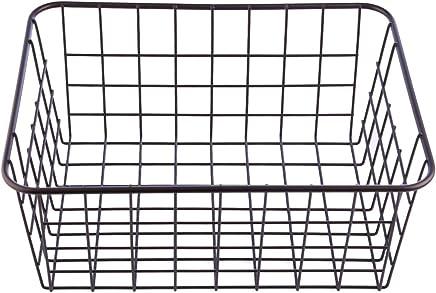 Badzubeh/ör Drahtkorb 6er-Set Schwarz Speisekammer Schrank - Stapelbarer Metallk/örbe mit Tragegriffen W/äschesammler Vorratskammer Allzweckkorb Aufbewahrungs f/ür K/üche