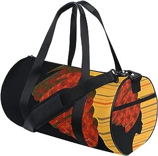 Naanle African Woman Traditional Turban Kente Head Wrap Ethnic Gym bag Sports Travel Duffle Bags for Men Women Boys Girls