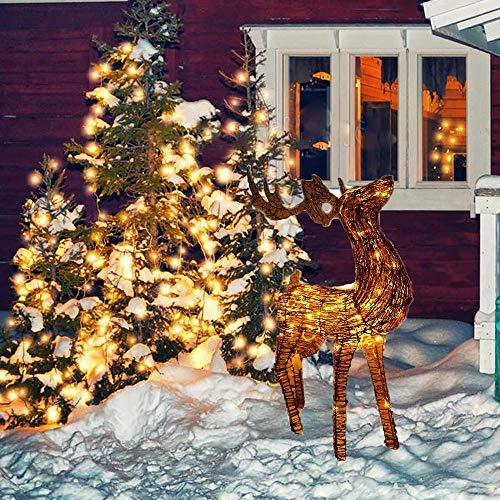 "MomokoPeng 45"" Led Lighted Glittering Standing Buck Reindeer Lighted Christmas Yard Art Decoration - Clear Lights"