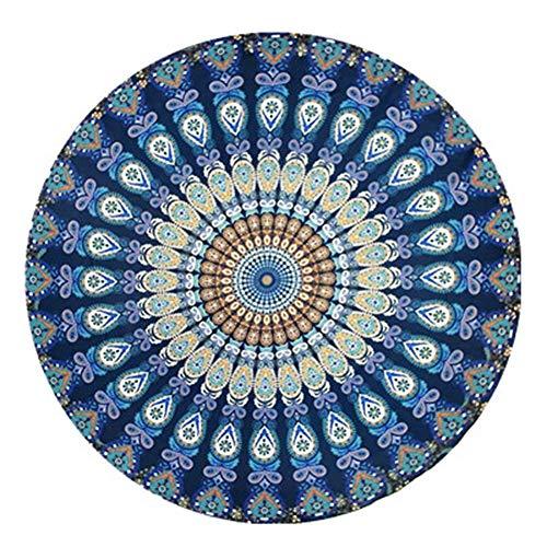 Amiispe India Toalla de Playa Redonda Mandala Hippie, Algodón Redondo Indio Grande, Esterilla Redonda de Yoga Boho Meditación de Tela, Mantel Colgador Manta Picnic Alfombra Hecha a Mano