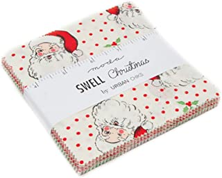 Swell Christmas Charm Pack by Urban Chiks; 42-5 Inch Precut Fabric Quilt Squares