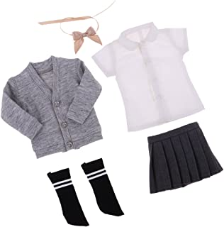 CUTICATE 1/6 BJD Doll Clothes Students Uniform Top Coat, Shirt, Mini Skirt, Socks and Bow Tie 5pcs Outfit for 1/6 BJD SD BB Girl Ball Jointed Dolls