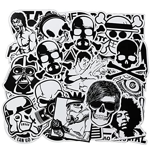 100 Pcs Cool Vinyl Stickers Pack for Adults Teens Snowboard Laptop Car Motorcycle Helmet Guitar Phone Black White Waterproof Graffiti Stickers Bomb Decal for Men Kids Skateboard Water Bottle Wall