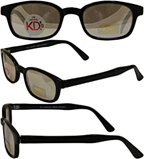 The Original KD's Biker Shades By PCSUN Black Frames Clear Mirror Lenses