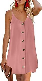 Women's V Neck Spaghetti Shoulder Strap Sleeveless Mini Dress