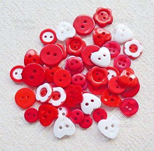 Lot de 50 boutons assortis en acrylique et résine pour confection de cartes Rouge