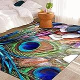 QPCGRA Teppich, blau-grün-violette Steinfeder, superweich, flauschig, zottelig, Teppiche für...