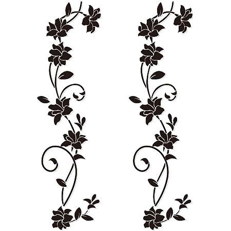 2pcs Pegatinas Pared Vinilos Adhesivos Decorativos Pared Stickers Pared Flores DIY para Salón Dormitorio Ventana Habitación