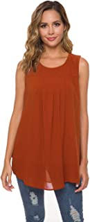 Smile fish Women Casual Sleeveless Shirts Pleated Layered Flowy Tank Top