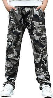 LAPLBEKE Niño Pantalones Joggers Cargo con Bajos Ajustados y Estampado de Camuflaje Pantalón de chándal con Cintura elástica