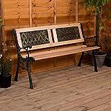 Garden Vida Garden Bench, Twin Cross Style Design 3 Seater Outdoor Furniture Seating Wooden Slats Cast Iron Legs Park Patio Seat