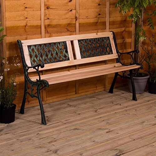 Garden Vida Garden Bench, Twin Cross Style Design 3 Seater Outdoor Furniture Seating Wooden Slats Cast Iron Legs Park Patio Seat