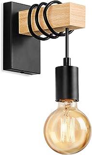 Lightess Applique Murale Industrielle en Bois Lampe Murale Vintage Eclairage Murale intérieur Rétro E27 Spot Mural pour Sa...