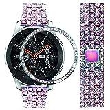 Dealle, cinturino compatibile con Galaxy Watch da 46 mm, 22 mm, in acciaio inox, con lunetta, cinturino di ricambio per Samsung Gear S3 Frontier/Classic Donna Uomo (Rainbow)