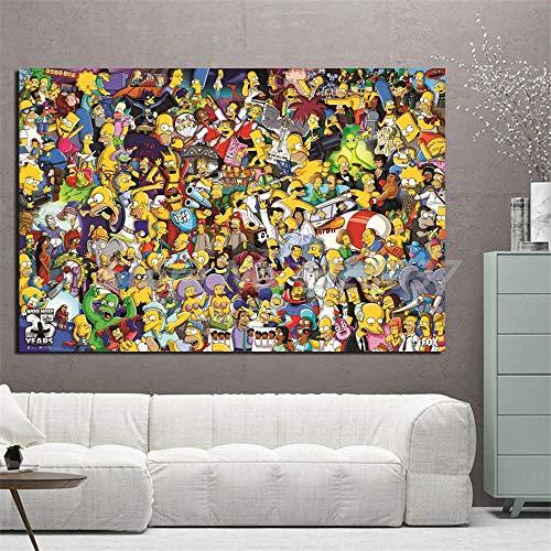 Y fodoro Simpsons Jigsaw Puzzles Puzzle, Personajes de Madera Dibujos Animados Anime Pinturas 1000 Piezas Adultos Rompecabezas, Niños Cerebro Iq Desarrollando Juguete