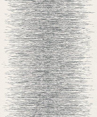 Rasch - 413809 Vlies Tapete Muster Struktur silber grau weiß Glanz