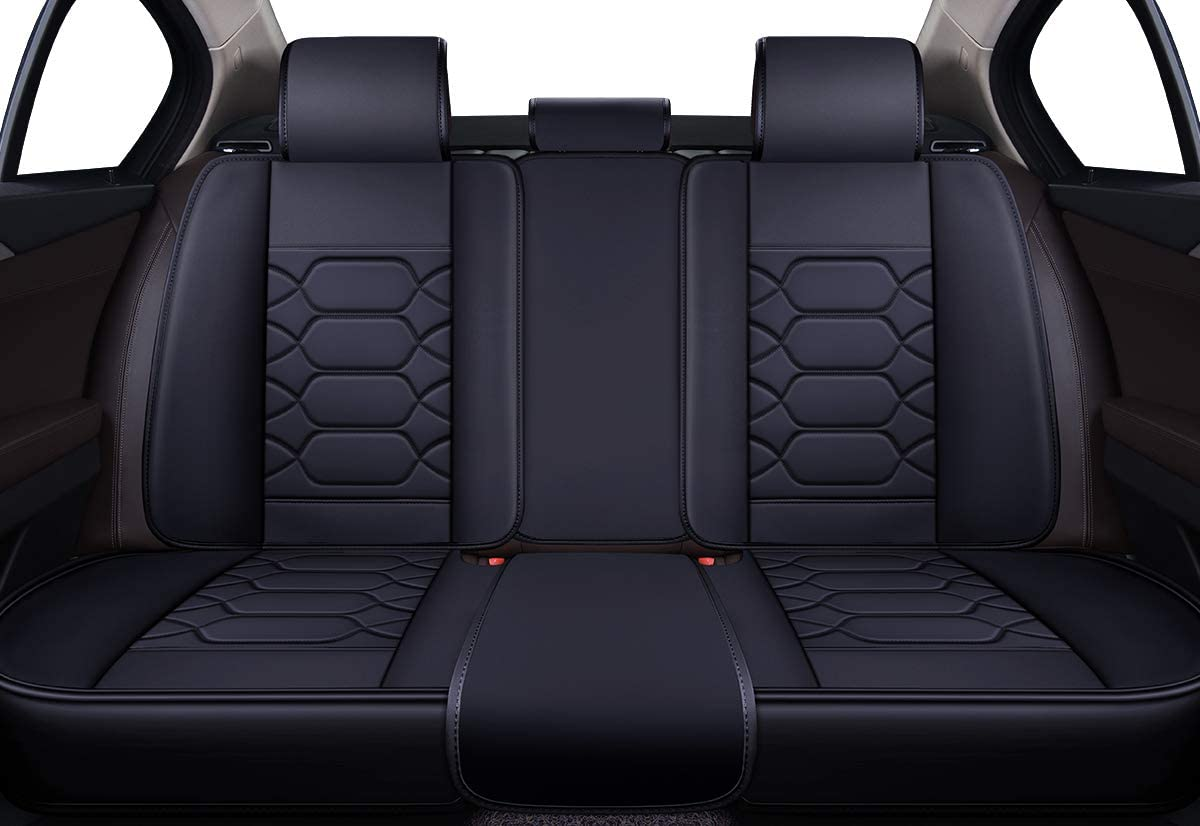 OS-004 Full Set, Black/&RED Faux Leatherette Automotive Vehicle Cushion Cover for Cars SUV Pick-up Truck Universal Fit Set for Auto Interior Accessories Leather Car Seat Covers