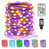 BrizLabs Orange & Purple Halloween Fairy String Lights, 66ft 200 LED Color...