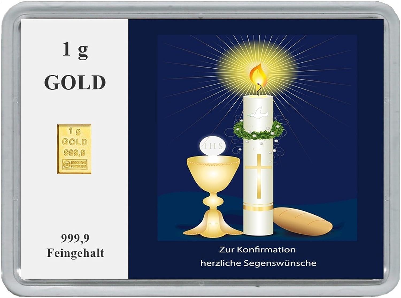 New New New Edition 1g Goldbarren 999,9 FeinGold in Motivbox  Zur Konfirmation herzliche Segenswünsche  in edler Goldverpackung B06XFXWPM5 | Clever und praktisch  119aba