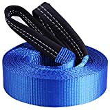 CARTMAN Heavy Duty Tow Belt 2' x 20' 10,000Lbs, Tow Strap with Reinforced Loops