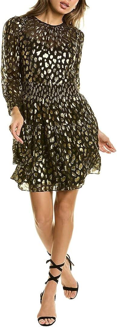 Rebecca Taylor Women's Long Sleeve Leopard Metallic Dress