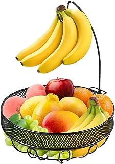 バナナツリーハンガー付きフルーツバスケットボウル、野菜収納スナックホルダーラックブレッドスタンド(ブロンズ)