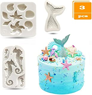 SAKOLLA Mermaid Theme Cake Fondant Mold - Seahorse Seashell Starfish Mermaid Tail Silicone Mold for Under The Sea Cake Decoration, Chocolate, Candy, Polymer Clay, Cupcake Decor, Sugar Craft, etc.