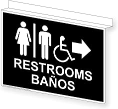 Restrooms Bilingual Ceiling Sign, Projection-Mount 14x10 inch Black Aluminum for Public Bathrooms by ComplianceSigns