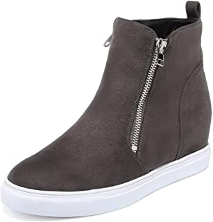 VANDIMI Wedge Sneakers for Women Fashion High Top Hidden Heel Shoes Casual Side Zipper Platform Ankle Boots