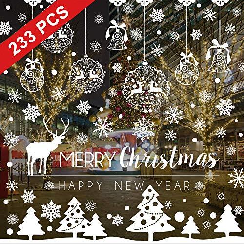 BESTZY Pegatinas de Navidad Copo de Nieve Estática Pegatina 233 pcs Pegatinas de Navidad para Ventanas Adornos Artículos de Fiesta Decoracion Navideña Regalos (8 Hojas)