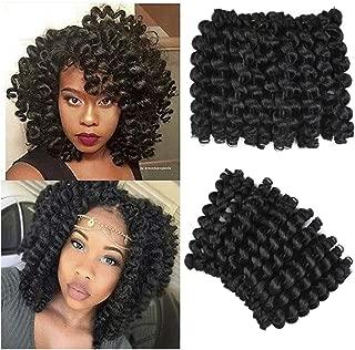 AliRobam 6Packs 8Inch Jumpy Wand Curl Jamaican Bounce Crochet Braids 20Roots African Ombre Kanekalon Synthetic Crochet Braiding Hair Extensions For Black Women (1B)