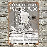 1923 20 Mule Team Borax Detergent Cartel de chapa de metal pintado decoración de pared moderna sala...