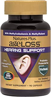 NaturesPlus AgeLoss Hearing Support - 90 Vegetarian Capsules - Promotes Healthy Auditory Function, Antioxidant, Anti-Infla...
